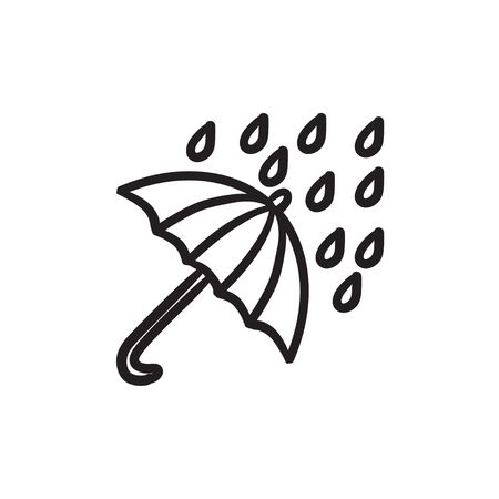 Rain and umbrella sketch icon.