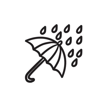 torrential: Rain and umbrella sketch icon.