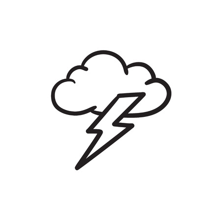 Cloud and lightning bolt sketch icon. Vectores