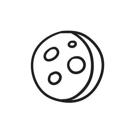 holes: Moon surface with cheese holes sketch icon.