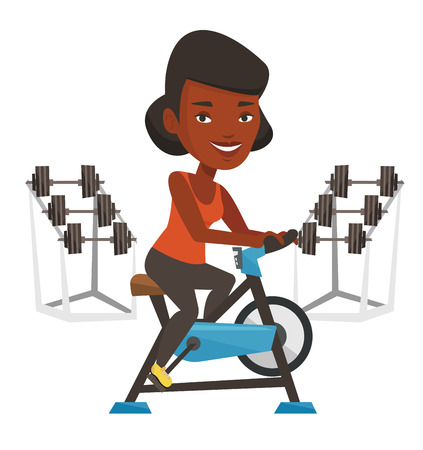 African woman riding stationary bicycle in the gym. Woman exercising on stationary training bicycle. Woman training on exercise bicycle. Vector flat design illustration isolated on white background.