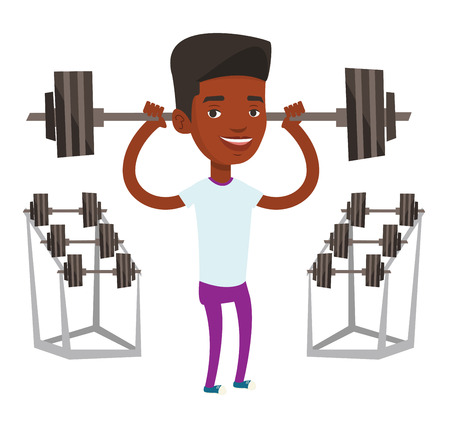 African-american sporty man lifting a heavy weight barbell. Sportsman doing exercise with barbell. Weightlifter holding a barbell in gym. Vector flat design illustration isolated on white background.