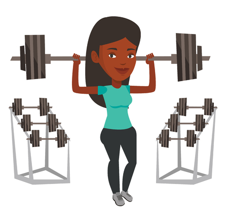 African-american sporty woman lifting a heavy weight barbell. Woman doing exercise with barbell. Weightlifter holding a barbell in the gym. Vector flat design illustration isolated on white background