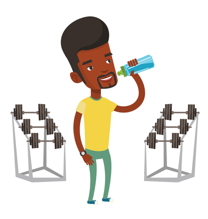 African-american sportsman drinking water. Sportsman with bottle of water in the gym. Young sportsman drinking water from the bottle. Vector flat design illustration isolated on white background. Stock Illustratie
