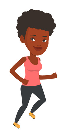 African-american young woman running. Happy runner jogging. Full length of a smiling athlete running. Sportswoman in sportswear running. Vector flat design illustration isolated on white background.
