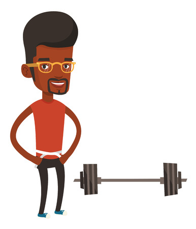 African-american man measuring waistline with tape. Man measuring with tape the abdomen. Man with tape on a waist standing near a barbell. Vector flat design illustration isolated on white background.