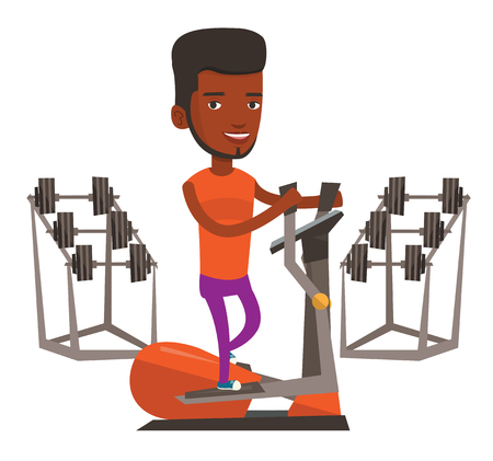 African-american man exercising on elliptical trainer. Man working out using elliptical trainer. Man doing exercises on elliptical trainer. Vector flat design illustration isolated on white background