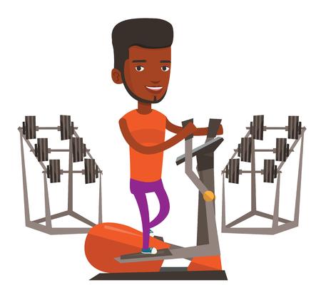 African-american man exercising on elliptical trainer. Man working out using elliptical trainer. Man doing exercises on elliptical trainer. Vector flat design illustration isolated on white background