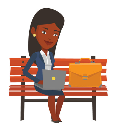 laptop outside: African-american business woman working outdoor. Business woman working on a laptop. Business woman sitting on bench and working on laptop. Vector flat design illustration isolated on white background Illustration