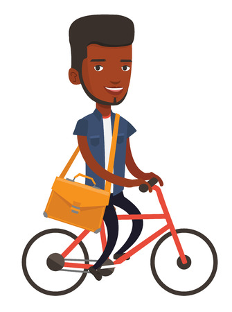 African young business man riding a bicycle. Cyclist riding a bicycle. Business man with briefcase on a bicycle. Healthy lifestyle concept. Vector flat design illustration isolated on white background