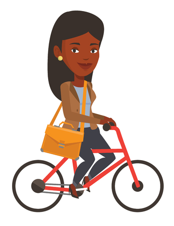 African-american young business woman riding a bicycle. Cyclist riding a bicycle. Business woman on a bicycle. Healthy lifestyle concept. Vector flat design illustration isolated on white background.