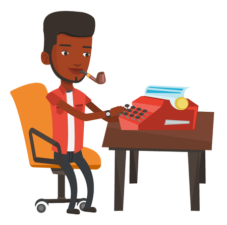 article writing: African-american journalist writing an article on vintage typewriter and smoking pipe. Concentrated journalist working on retro typewriter. Vector flat design illustration isolated on white background