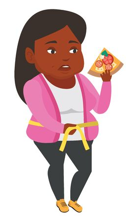 African fat woman with slice of pizza measuring waistline. Fat woman measuring waistline with tape. Fat woman with centimeter on waistline. Vector flat design illustration isolated on white background