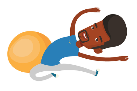 African-american man exercising in the gym. Man doing stretching. Sportsman stretching before training. Man doing stretching exercises. Vector flat design illustration isolated on white background.