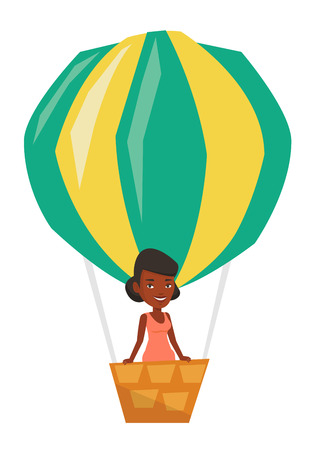 Woman flying in a hot air balloon. Woman standing in basket of hot air balloon. Woman traveling in aerostat. Girl riding a hot air balloon. Vector flat design illustration isolated on white background Illustration