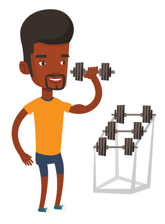 African-american man lifting a heavy weight dumbbell. Sportsman doing exercise with dumbbell. Weightlifter holding dumbbell in the gym. Vector flat design illustration isolated on white background. Ilustracja