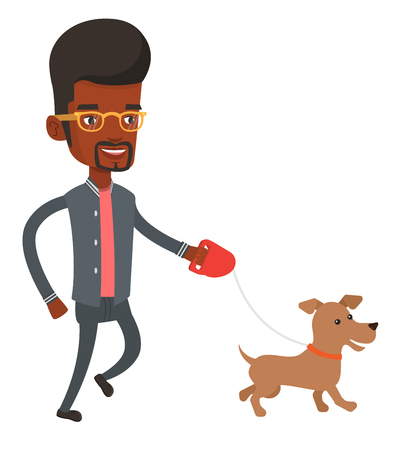 dog walking: African-american young man with his pet. Happy man taking dog on walk. Man walking with his small dog. Smiling guy walking a dog on leash. Vector flat design illustration isolated on white background.