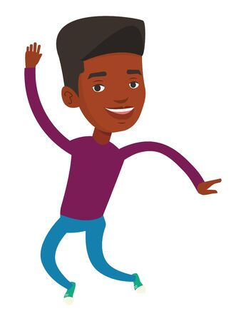 Young cheerful african-american man jumping. Smiling man having fun and jumping. Full length of happy man jumping. Vector flat design illustration isolated on white background.
