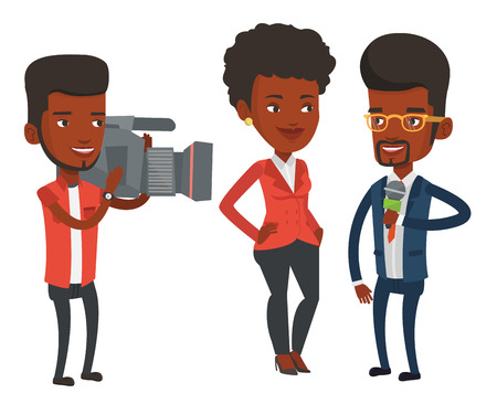 African-american reporter with microphone interviews a woman. Operator filming interview. Journalist making interview with businesswoman. Vector flat design illustration isolated on white background.