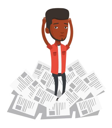 overwhelmed: African businessman having a lot of paperwork. Young businessman surrounded by lots of papers. Business man standing in the heap of papers. Vector flat design illustration isolated on white background Illustration