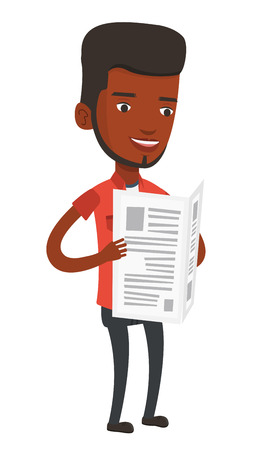 African-american man reading the newspaper. Young smiling man reading good news in newspaper. Happy man standing with newspaper in hands. Vector flat design illustration isolated on white background.