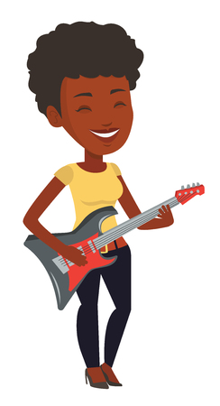African-american musician playing electric guitar. Woman practicing in playing guitar. Guitarist with eyes closed playing music on guitar. Vector flat design illustration isolated on white background.