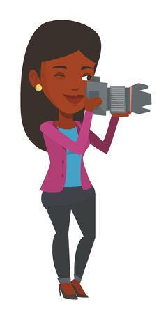 black and white photograph: African-american photographer working with digital camera. Female photographer taking a photo. Young photographer taking a picture. Vector flat design illustration isolated on white background. Illustration