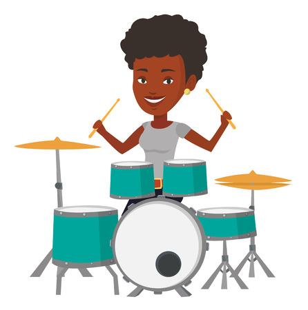 アフリカ系アメリカ人 mucisian のドラムを演奏します。ドラムを演奏若い笑顔の女性。幸せな女性ドラマー ドラム キットの後ろに座って。ベクトル