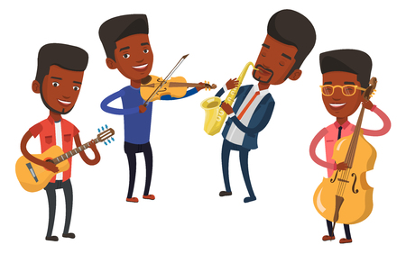 Band of musicians playing on musical instruments. Group of musicians playing on musical instruments. Musicians performing with instruments. Vector flat design illustration isolated on white background Ilustrace