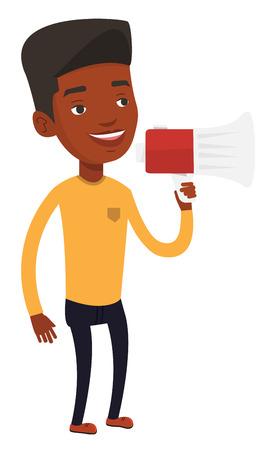 African-american man holding megaphone. Promoter speaking into megaphone. Man advertising using megaphone. Social media marketing concept. Vector flat design illustration isolated on white background. Illustration