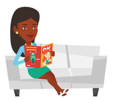 African woman reading a magazine. Relaxed woman sitting on sofa and reading magazine. Woman sitting on the couch with magazine in hands. Vector flat design illustration isolated on white background. Illustration