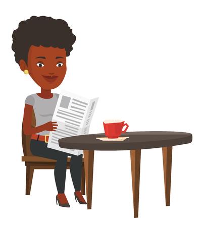 Afroamerikanerfrauenlesezeitung in einem Café. Mädchen, welches die Nachrichten in der Zeitung liest. Frau, die mit Zeitung sitzt und Kaffee trinkt. Vector die flache Designillustration, die auf weißem Hintergrund lokalisiert wird.