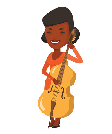 cellist: Young happy african-american musician playing cello. Cellist playing classical music on cello. Young smiling musician with cello and bow. Vector flat design illustration isolated on white background.
