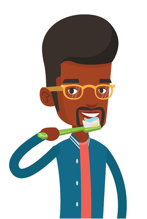 Young african-american man brushing his teeth. Man cleaning teeth. Man taking care of his teeth. Happy guy with toothbrush in hand. Vector flat design illustration isolated on white background