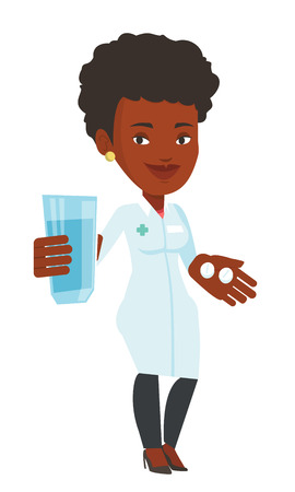 doctor giving glass: African-american pharmacist holding a glass of water and pills in hands. Smiling pharmacist in medical gown. Pharmacist giving medication. Vector flat design illustration isolated on white background.