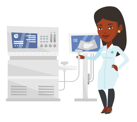 Young african-american operator of ultrasound scanning machine analyzing liver of patient. Doctor working on modern ultrasound equipment. Vector flat design illustration isolated on white background.