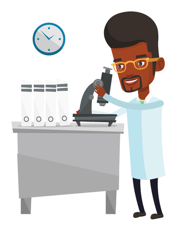 African laboratory assistant working with microscope. Young scientist working at the laboratory. Laboratory assistant using a microscope. Vector flat design illustration isolated on white background Illustration