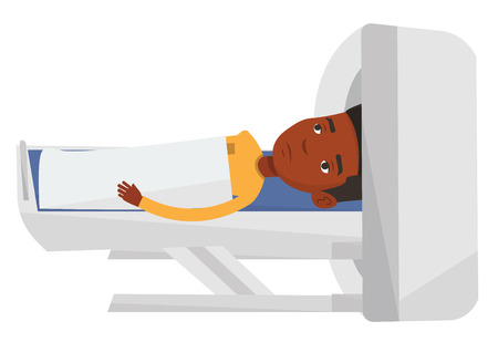 ct scan: African-american man undergoes a magnetic resonance imaging scan test in hospital. Magnetic resonance imaging machine scanning patient. Vector flat design illustration isolated on white background. Illustration