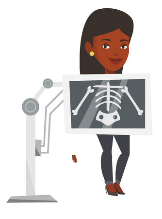 Young african-american woman during chest x ray procedure. Woman with x ray screen showing her skeleton. Patient visiting roentgenologist. Vector flat design illustration isolated on white background. Illustration