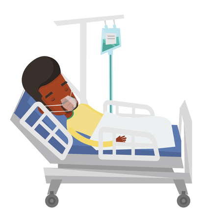 reanimation: African man lying in hospital bed with oxygen mask. Mn during medical procedure with drop counter. Patient recovering in bed in hospital. Vector flat design illustration isolated on white background.