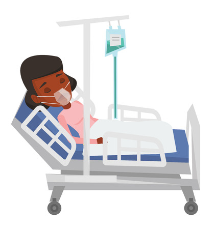 woman lying in bed: Woman lying in hospital bed with oxygen mask. Woman during medical procedure with drop counter. Patient recovering in bed in hospital. Vector flat design illustration isolated on white background.