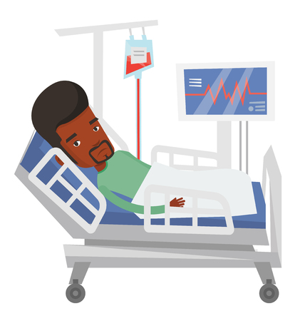 lying in bed: African man lying in bed in hospital. Patient resting in hospital bed with heart rate monitor. Patient during blood transfusion procedure. Vector flat design illustration isolated on white background.
