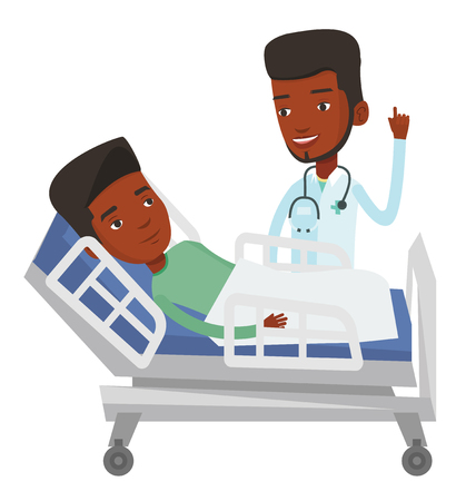 Young doctor visiting patient. Doctor pointing finger up during visiting of a patient. Man lying in hospital bed while doctor visits her. Vector flat design illustration isolated on white background. Vettoriali