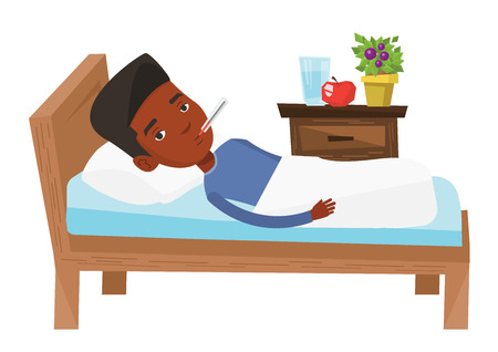 African sick man with fever laying in bed. Sick man measuring temperature with thermometer. Sick guy suffering from cold or flu virus. Vector flat design illustration isolated on white background. Vettoriali