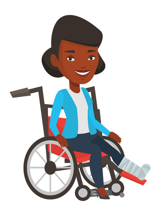 Sad woman with leg in plaster. Injured upset woman sitting in wheelchair with broken leg. Woman with fractured leg suffering from pain. Vector flat design illustration isolated on white background. Illustration