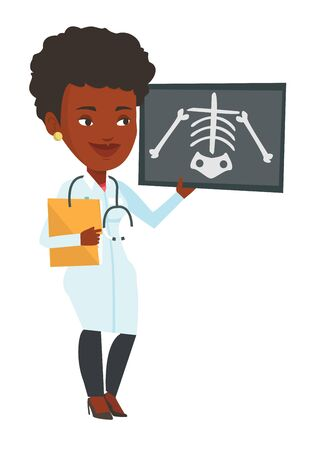 radiograph: African-american female doctor examining a radiograph. Young doctor looking at a chest radiograph. Doctor observing a skeleton radiograph. Vector flat design illustration isolated on white background.