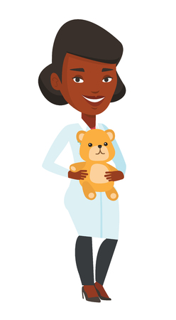 African-american pediatrician in medical gown. Pediatrician doctor holding a teddy bear. Pediatrician doctor standing with a teddy bear. Vector flat design illustration isolated on white background. Illustration