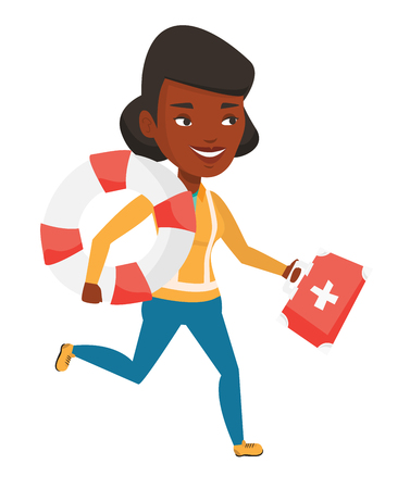 African paramedic running to patients. Paramedic running with first aid box. Emergency doctor running with first aid box and lifebuoy. Vector flat design illustration isolated on white background. Illustration