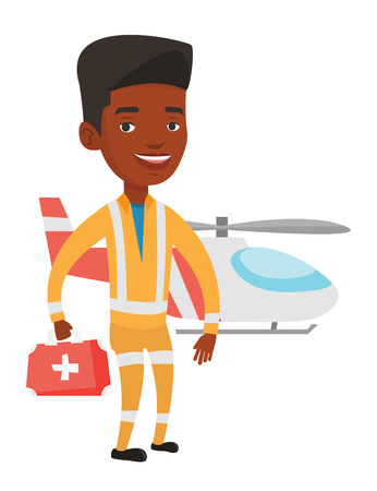 African doctor of air ambulance. Doctor of air ambulance standing in front of rescue helicopter. Doctor of air ambulance with first aid box Vector flat design illustration isolated on white background