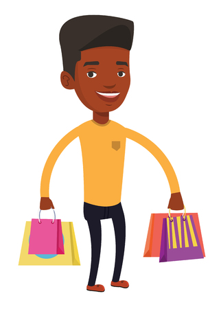 Happy african-american man carrying shopping bags. Young smiling man holding shopping bags. Man standing with a lot of shopping bags. Vector flat design illustration isolated on white background. Illustration